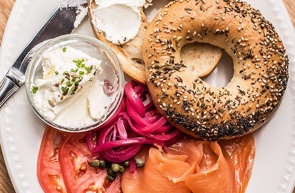 fresh bagel and lox at Virgin Hotels
