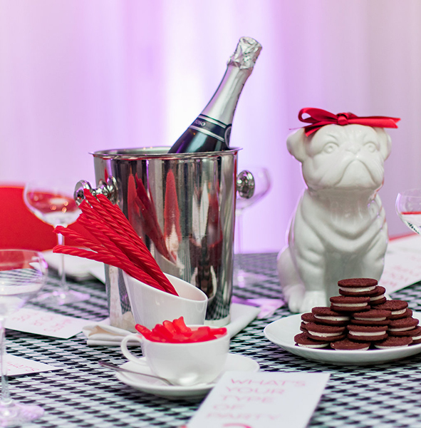 Event decorations and food at Virgin Hotels