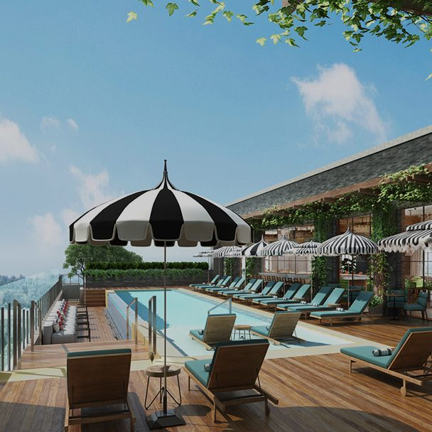 Rendering of the rooftop pool at Virgin Hotels Nashville