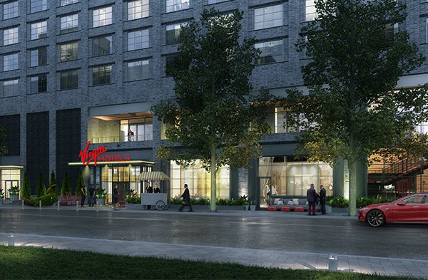 Exterior view of Virgin Hotels Nashville main entrance from the street